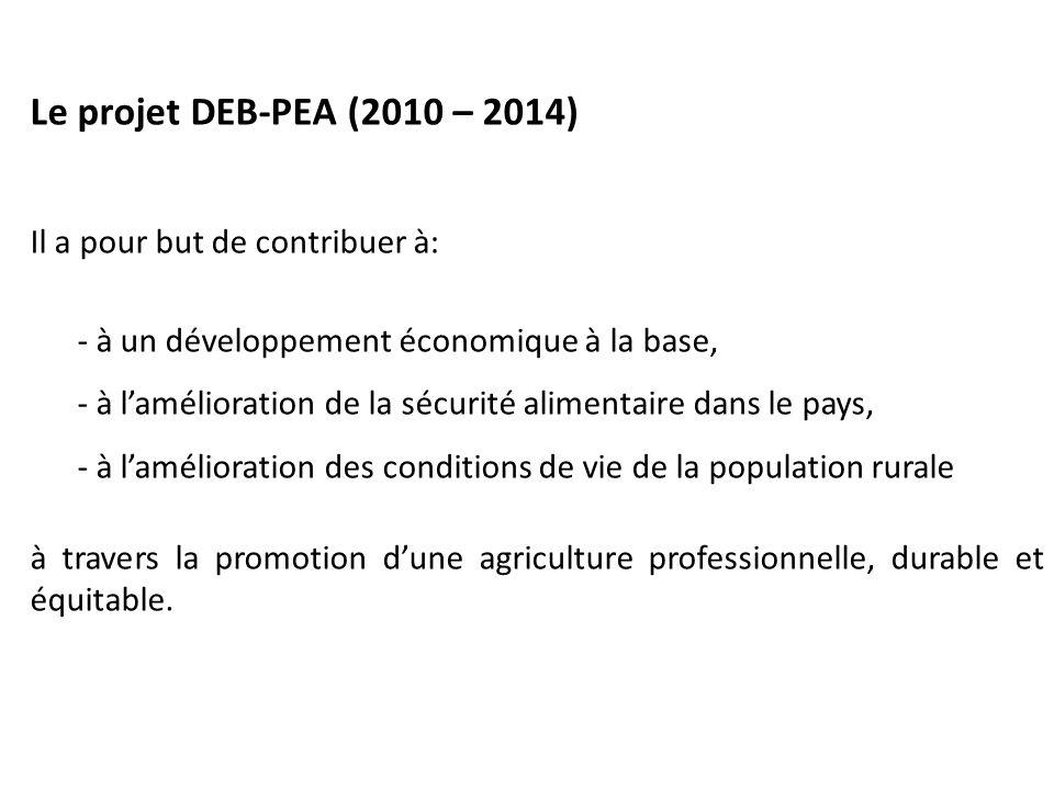 Le projet DEB-PEA (2010 – 2014) Il a pour but de contribuer à: