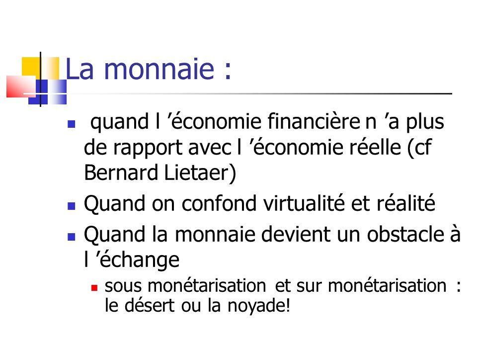 La monnaie : quand l 'économie financière n 'a plus de rapport avec l 'économie réelle (cf Bernard Lietaer)