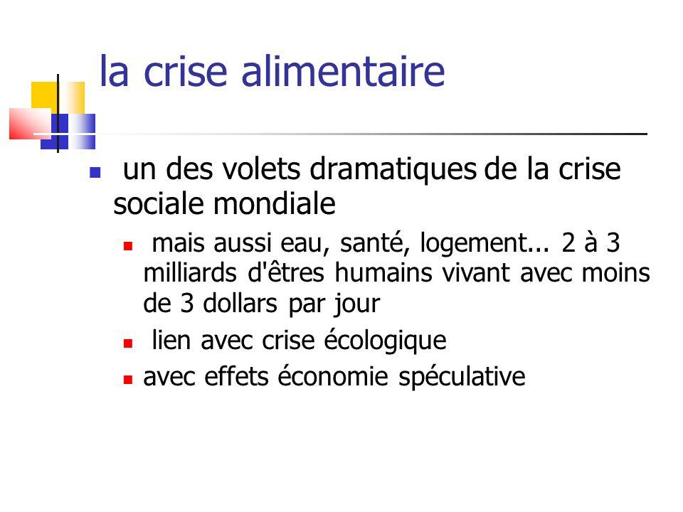 la crise alimentaireun des volets dramatiques de la crise sociale mondiale.