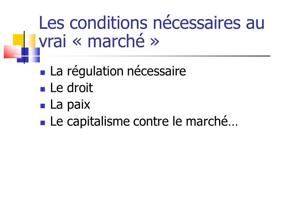 Les conditions nécessaires au vrai « marché »