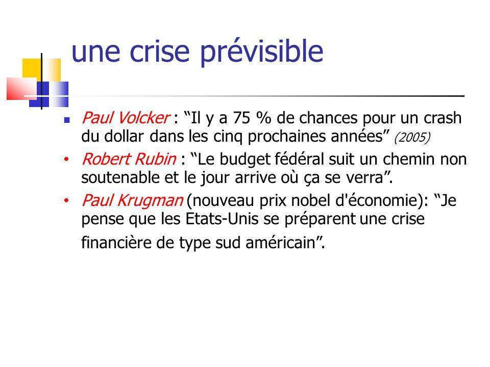 une crise prévisible Paul Volcker : Il y a 75 % de chances pour un crash du dollar dans les cinq prochaines années (2005)