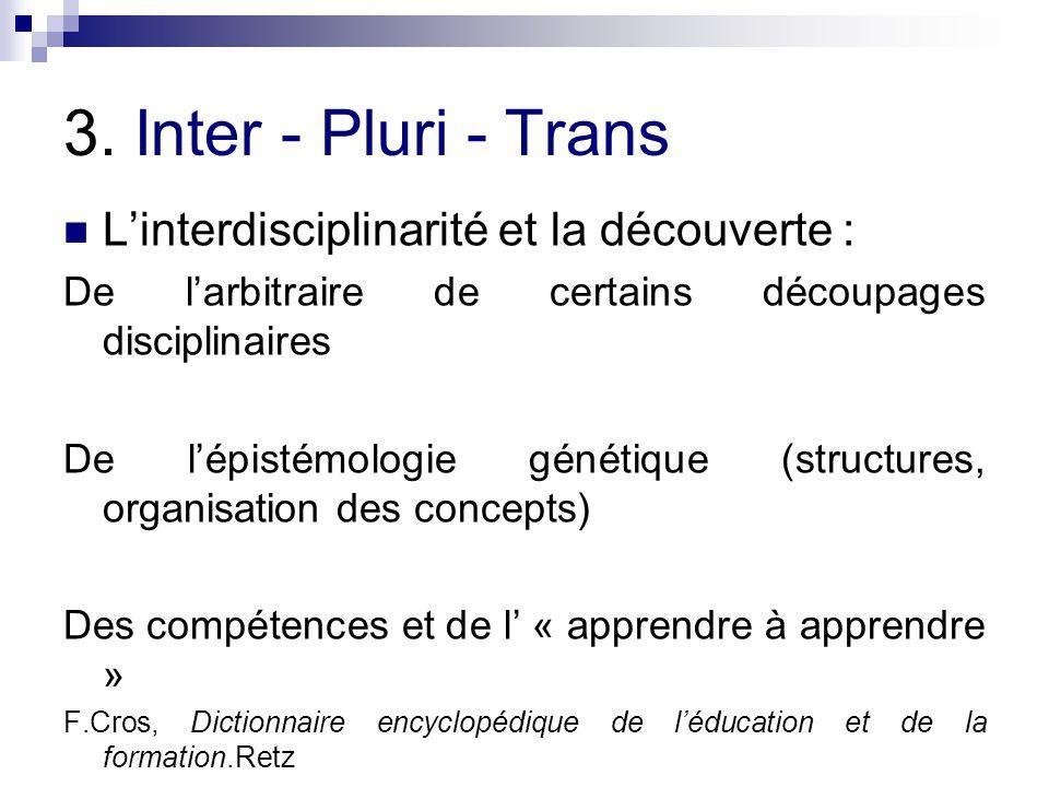 3. Inter - Pluri - Trans L'interdisciplinarité et la découverte :