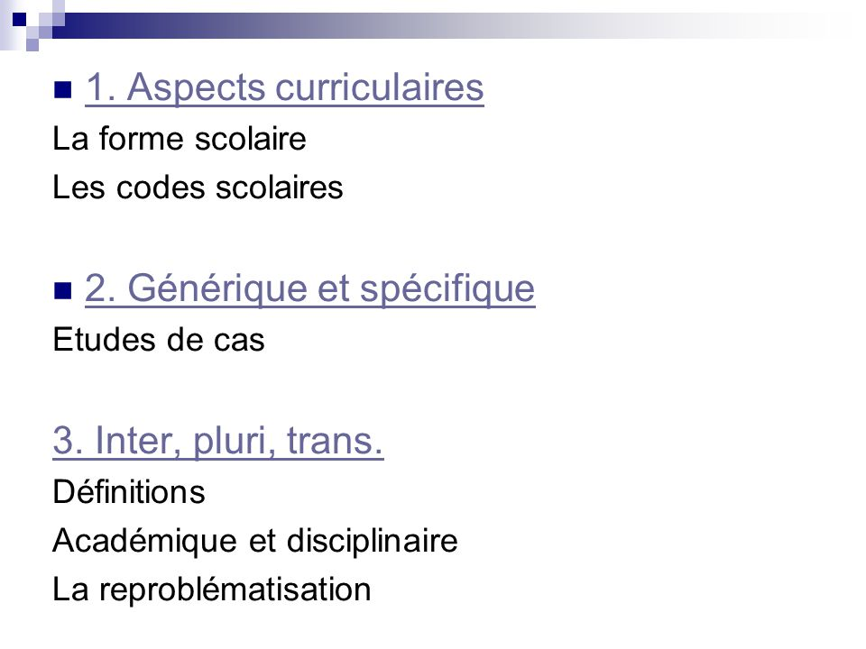 1. Aspects curriculaires