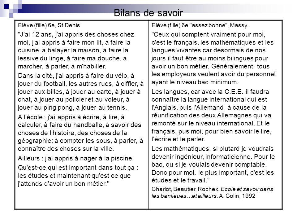 Bilans de savoir Elève (fille) 6e, St Denis.