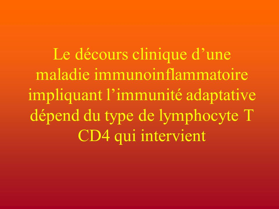 Le décours clinique d'une maladie immunoinflammatoire impliquant l'immunité adaptative dépend du type de lymphocyte T CD4 qui intervient