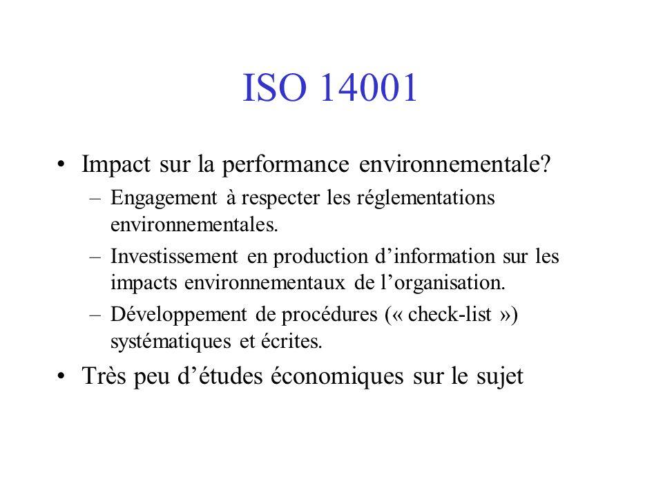ISO 14001 Impact sur la performance environnementale