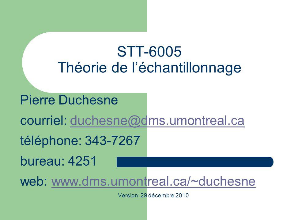 STT-6005 Théorie de l'échantillonnage