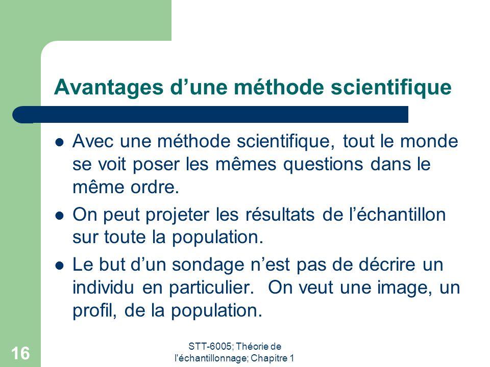 Avantages d'une méthode scientifique