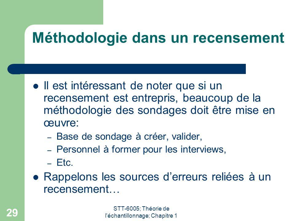 Méthodologie dans un recensement