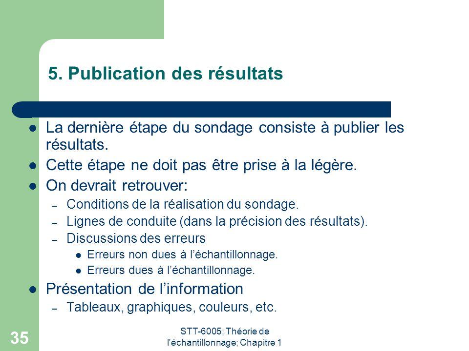 5. Publication des résultats