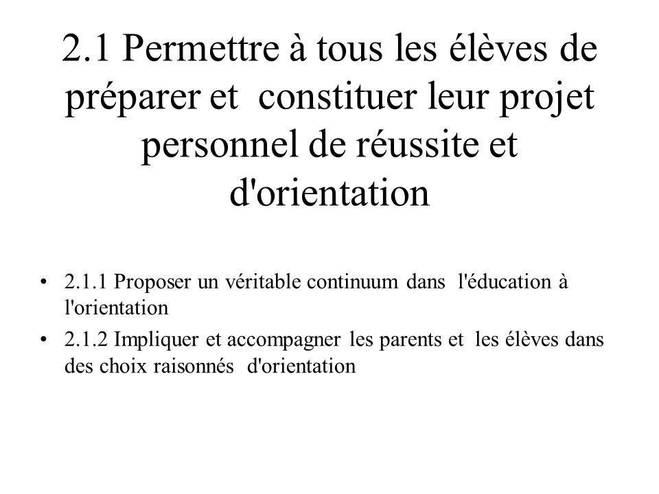 2.1 Permettre à tous les élèves de préparer et constituer leur projet personnel de réussite et d orientation