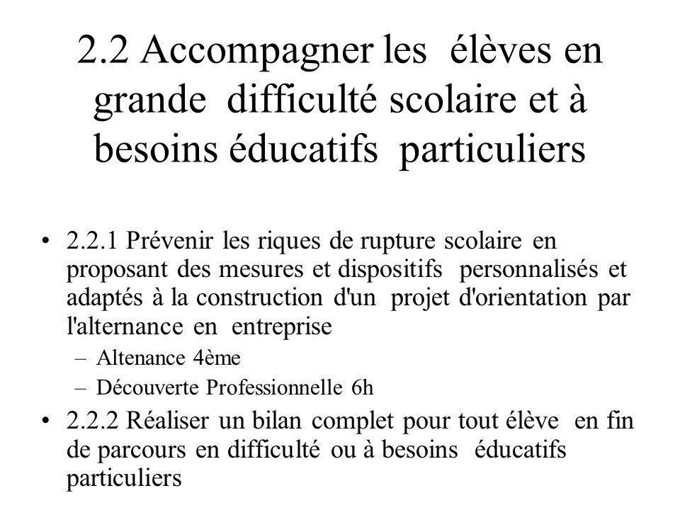 2.2 Accompagner les élèves en grande difficulté scolaire et à besoins éducatifs particuliers