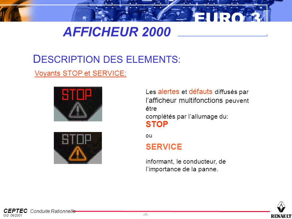 AFFICHEUR 2000 DESCRIPTION DES ELEMENTS: STOP SERVICE