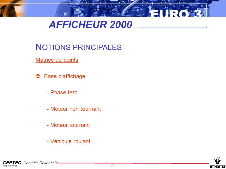 AFFICHEUR 2000 NOTIONS PRINCIPALES Matrice de points Base d'affichage
