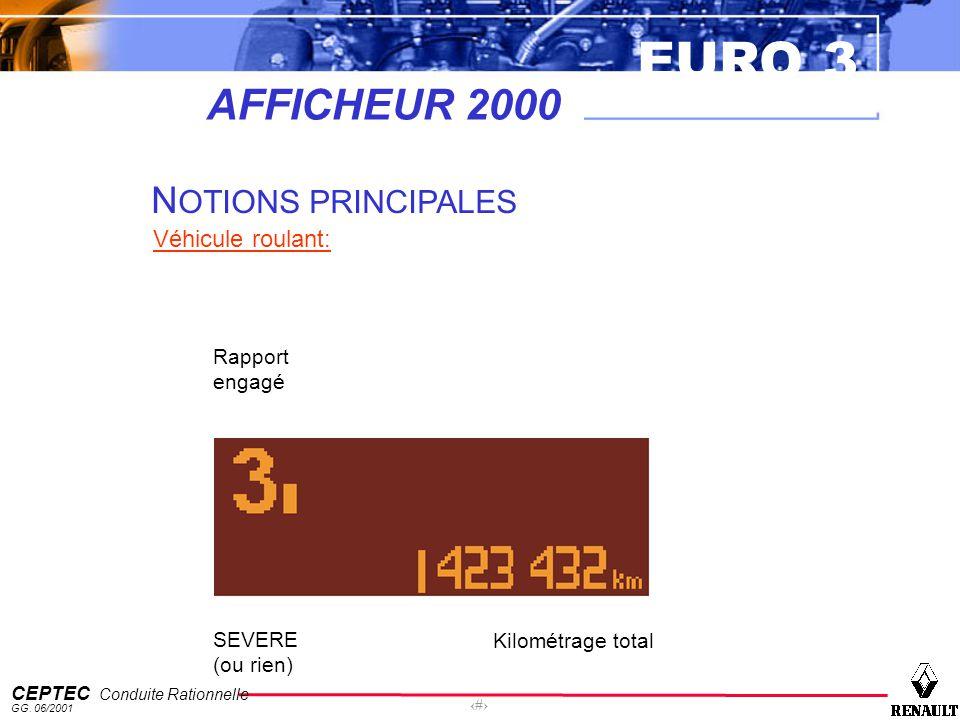 AFFICHEUR 2000 NOTIONS PRINCIPALES Véhicule roulant: Rapport engagé