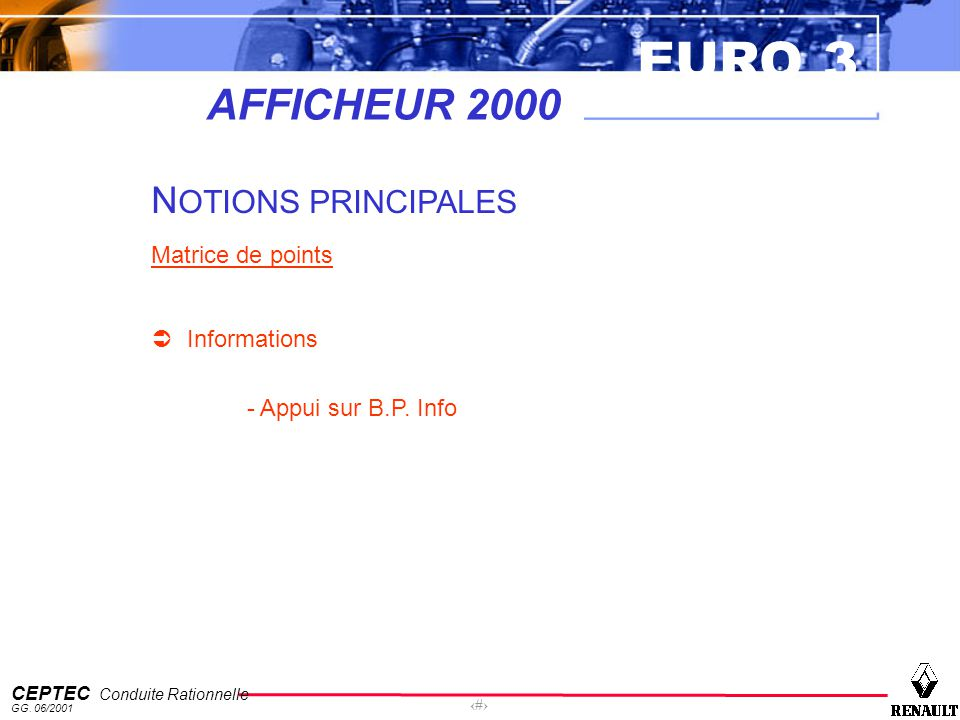 AFFICHEUR 2000 NOTIONS PRINCIPALES Matrice de points Informations