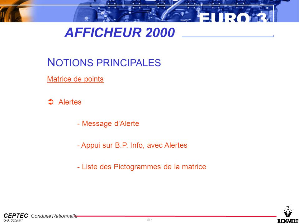 AFFICHEUR 2000 NOTIONS PRINCIPALES Matrice de points Alertes