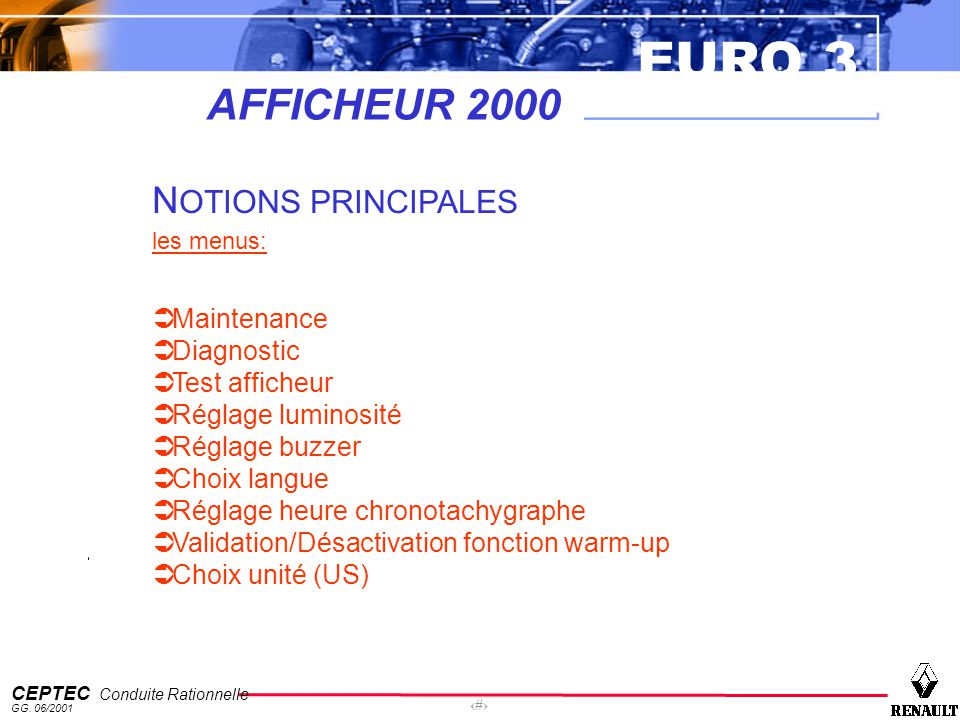 AFFICHEUR 2000 NOTIONS PRINCIPALES Maintenance Diagnostic