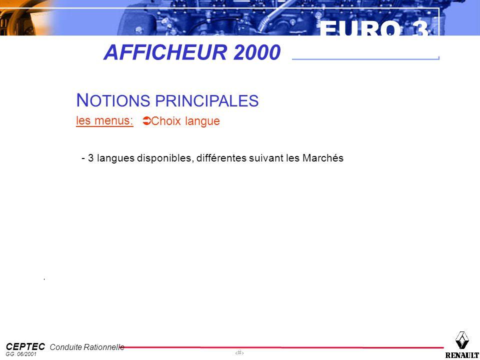 AFFICHEUR 2000 NOTIONS PRINCIPALES les menus: Choix langue