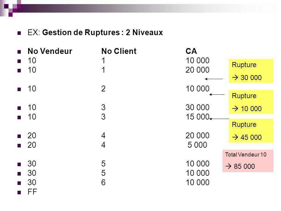 EX: Gestion de Ruptures : 2 Niveaux No Vendeur No Client CA