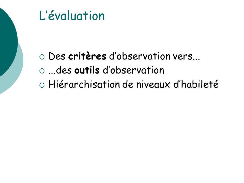 L'évaluation Des critères d'observation vers...