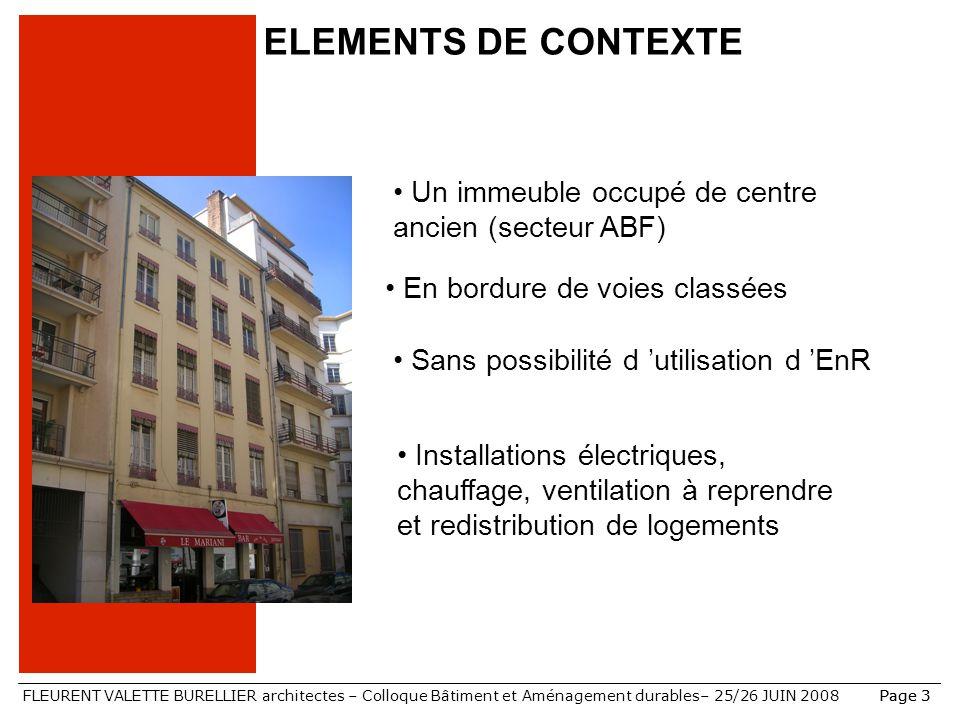 ELEMENTS DE CONTEXTE Un immeuble occupé de centre ancien (secteur ABF) En bordure de voies classées.