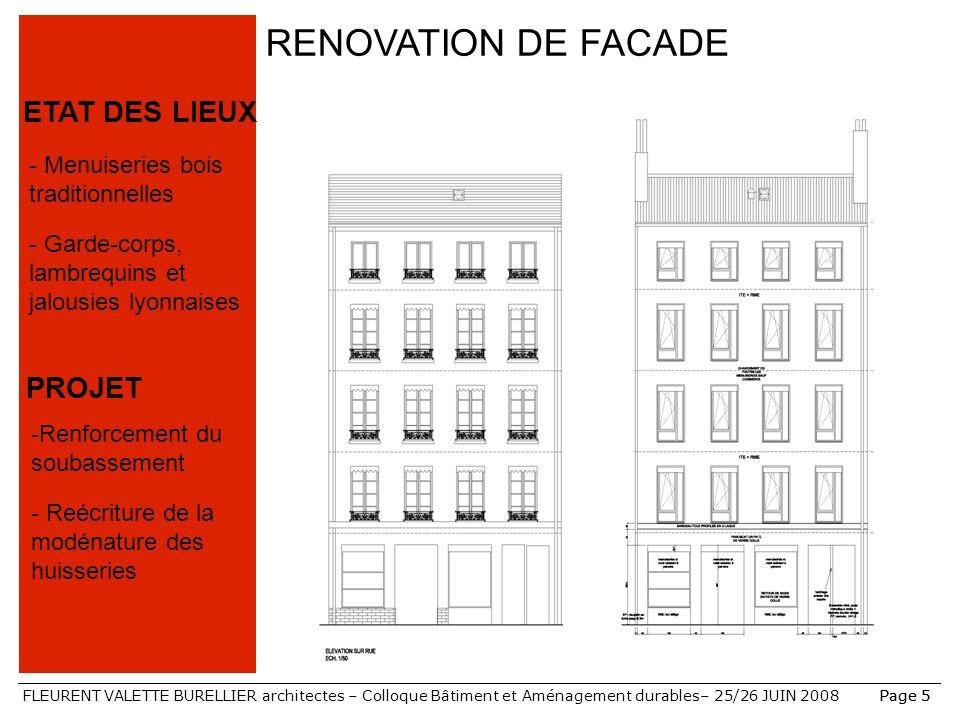 RENOVATION DE FACADE ETAT DES LIEUX PROJET