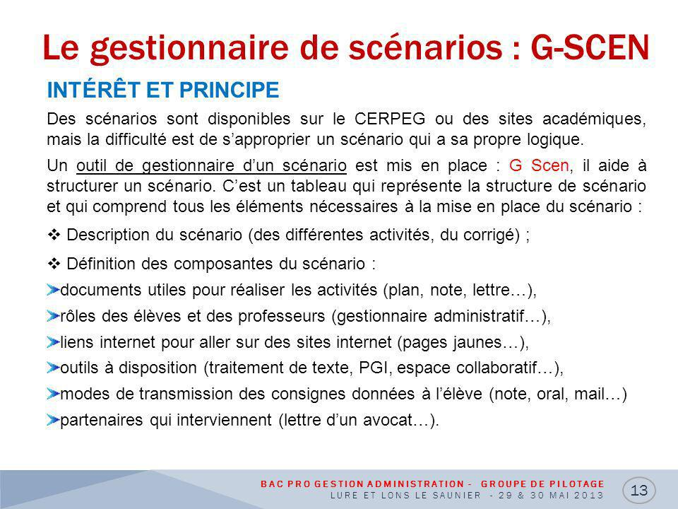 Le gestionnaire de scénarios : G-SCEN