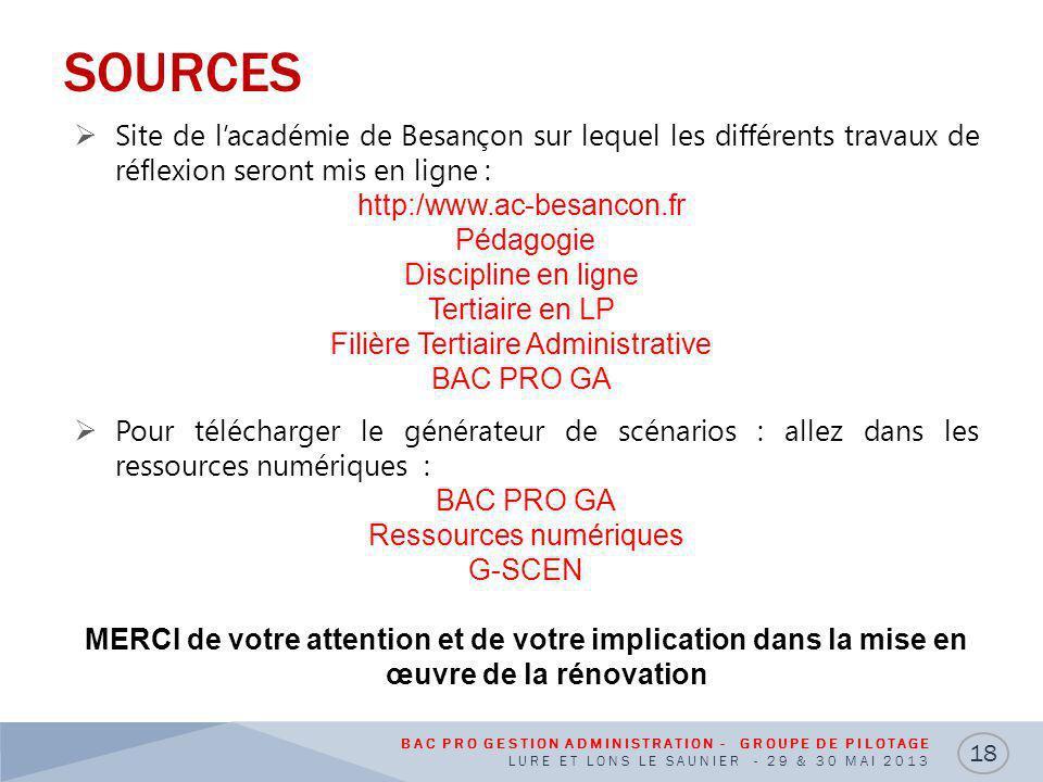 SOURCES Site de l'académie de Besançon sur lequel les différents travaux de réflexion seront mis en ligne :