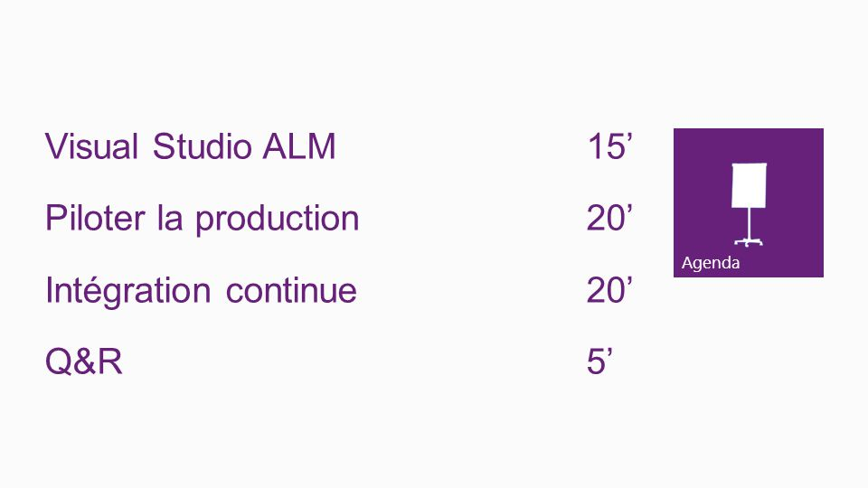 Visual Studio ALM 15' Piloter la production 20' Intégration continue 20' Q&R 5'