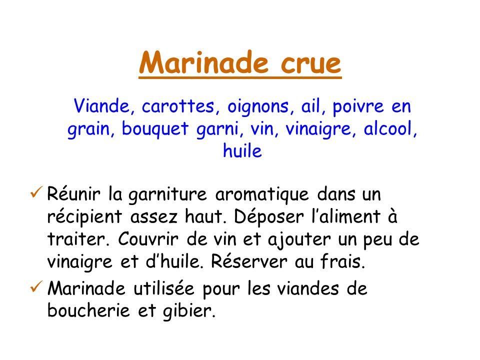 Marinade crueViande, carottes, oignons, ail, poivre en grain, bouquet garni, vin, vinaigre, alcool, huile.