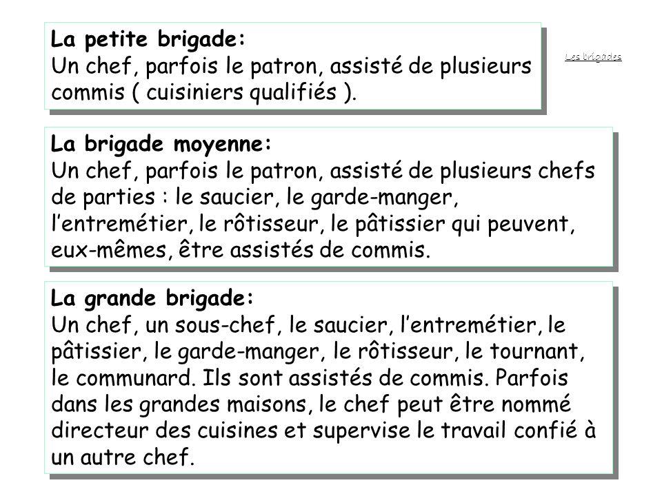 La petite brigade:Un chef, parfois le patron, assisté de plusieurs commis ( cuisiniers qualifiés ).