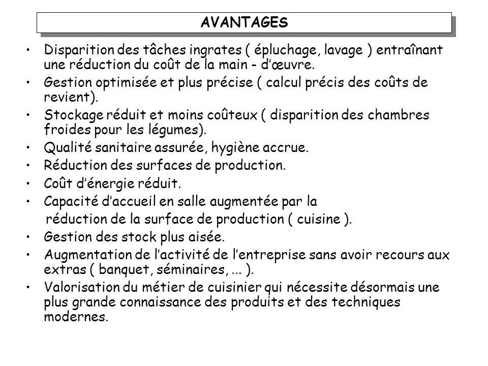 AVANTAGESDisparition des tâches ingrates ( épluchage, lavage ) entraînant une réduction du coût de la main - d'œuvre.