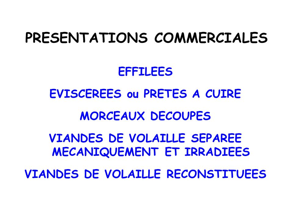 PRESENTATIONS COMMERCIALES