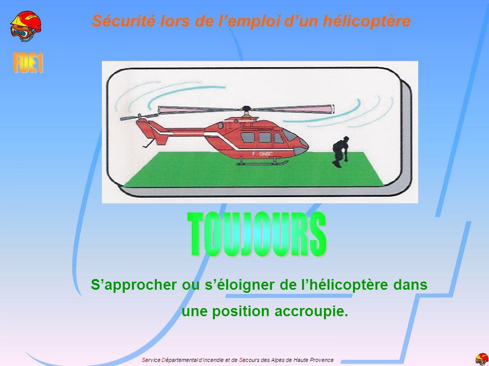 Sécurité lors de l'emploi d'un hélicoptère une position accroupie.