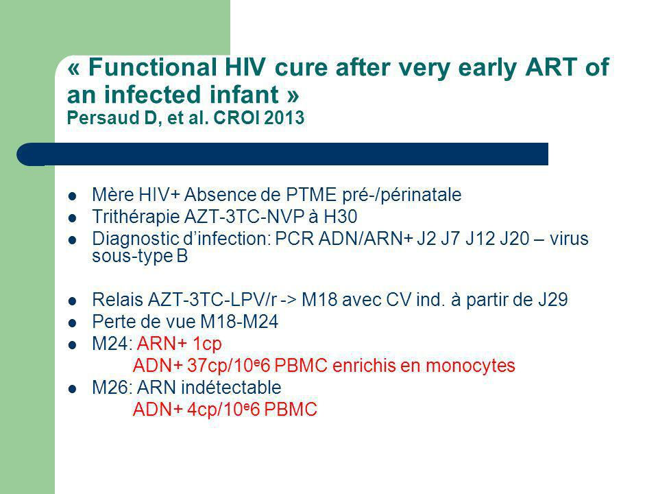 « Functional HIV cure after very early ART of an infected infant » Persaud D, et al. CROI 2013