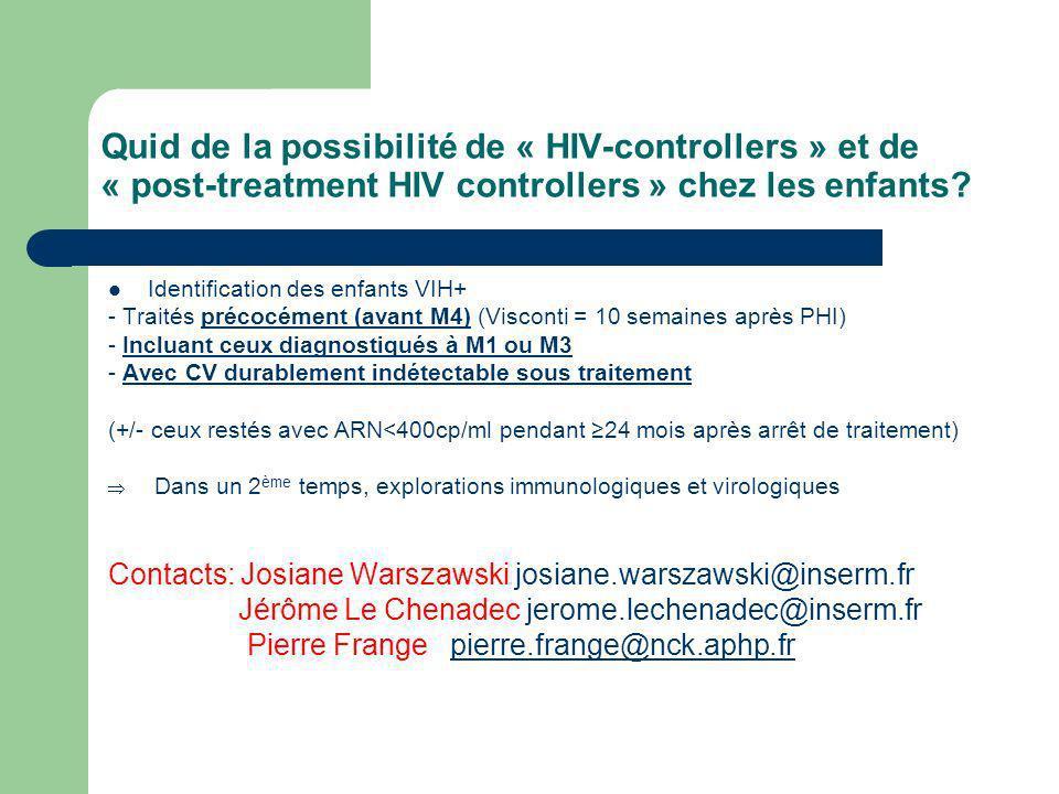 Quid de la possibilité de « HIV-controllers » et de « post-treatment HIV controllers » chez les enfants