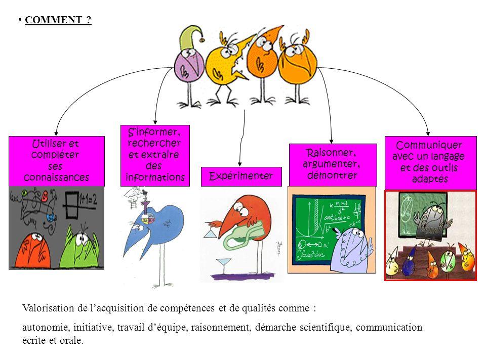 Valorisation de l'acquisition de compétences et de qualités comme :