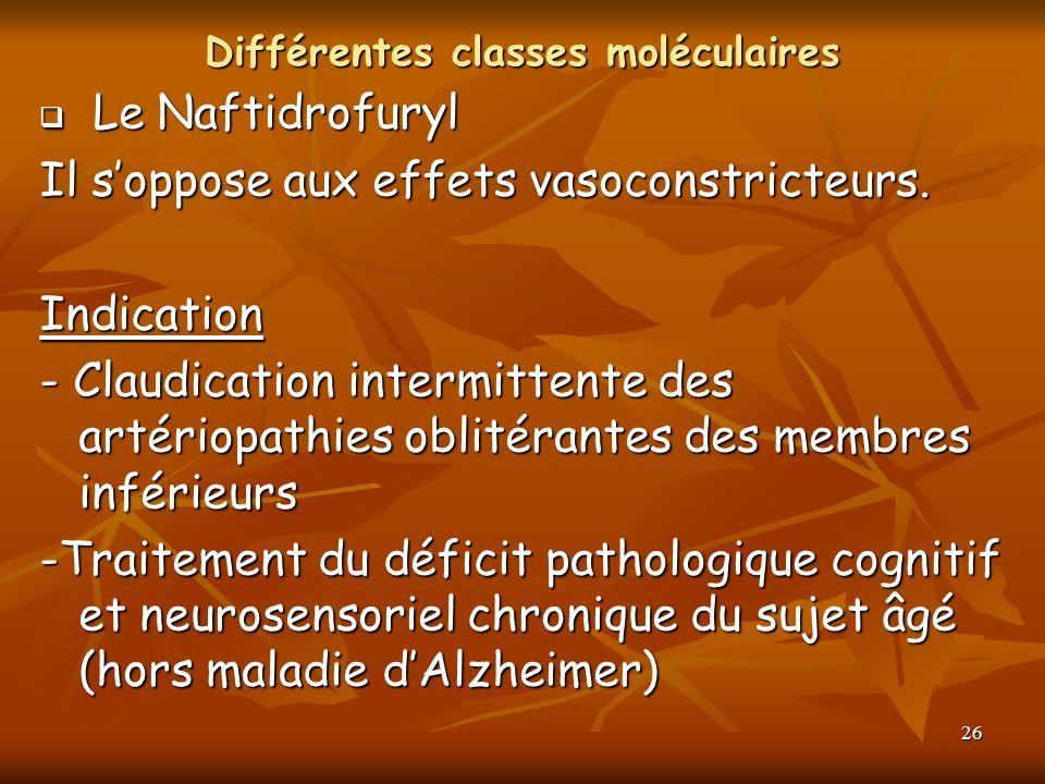 Différentes classes moléculaires