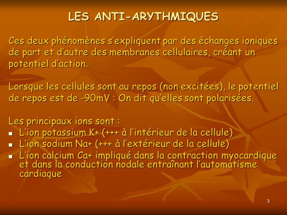 LES ANTI-ARYTHMIQUES Ces deux phénomènes s'expliquent par des échanges ioniques. de part et d'autre des membranes cellulaires, créant un.