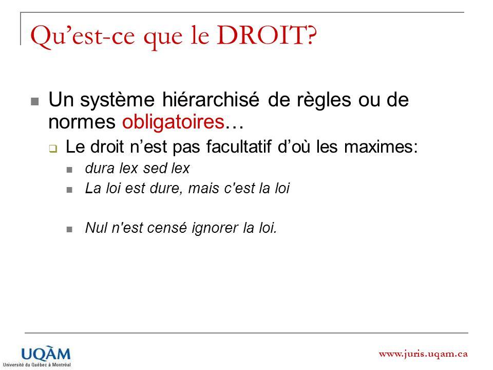 Qu'est-ce que le DROIT Un système hiérarchisé de règles ou de normes obligatoires… Le droit n'est pas facultatif d'où les maximes: