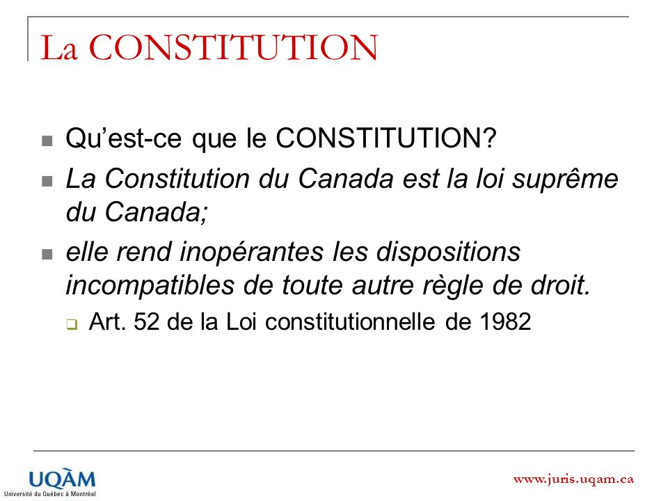 La CONSTITUTION Qu'est-ce que le CONSTITUTION