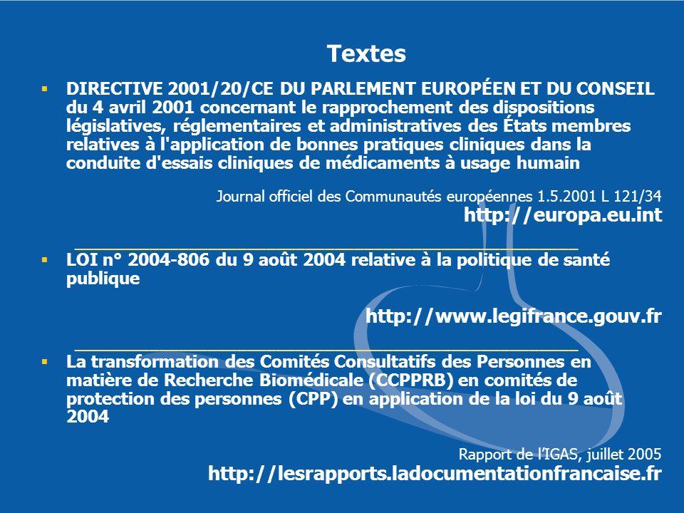 Textes http://www.legifrance.gouv.fr
