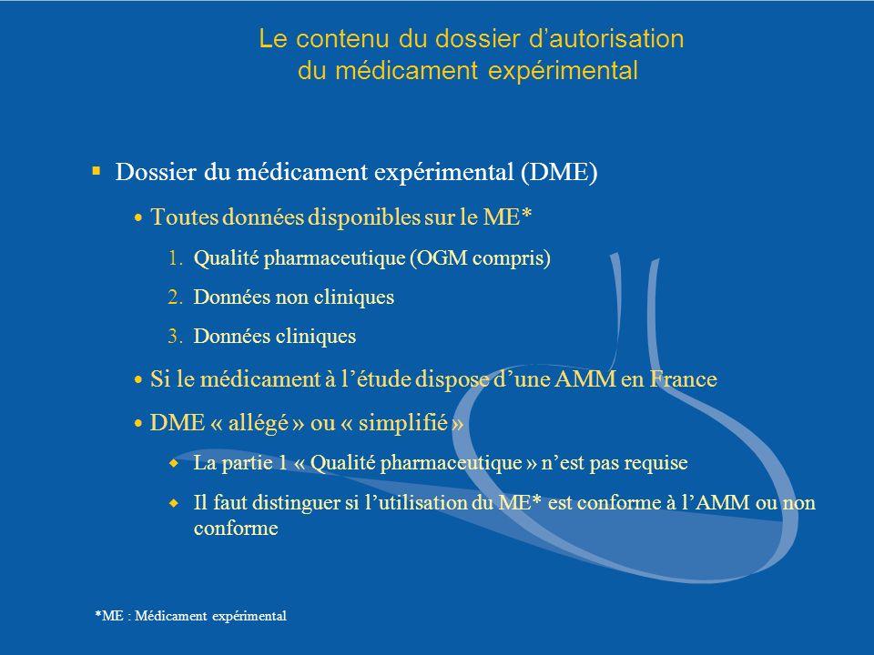 Le contenu du dossier d'autorisation du médicament expérimental