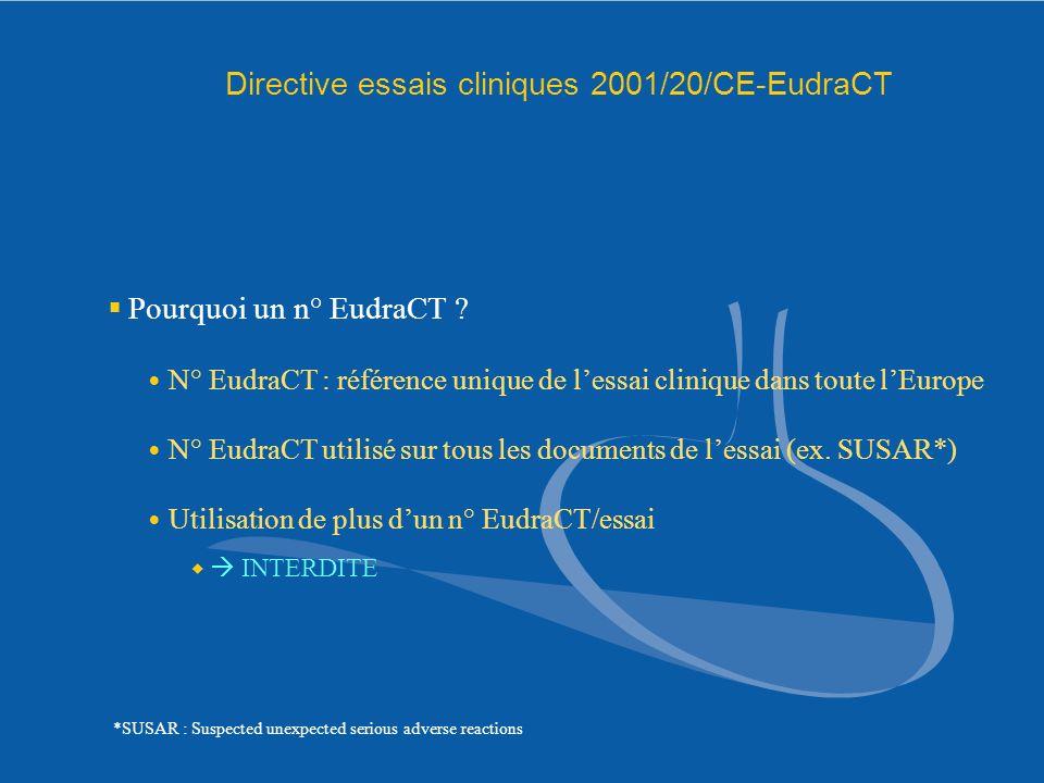 Directive essais cliniques 2001/20/CE-EudraCT