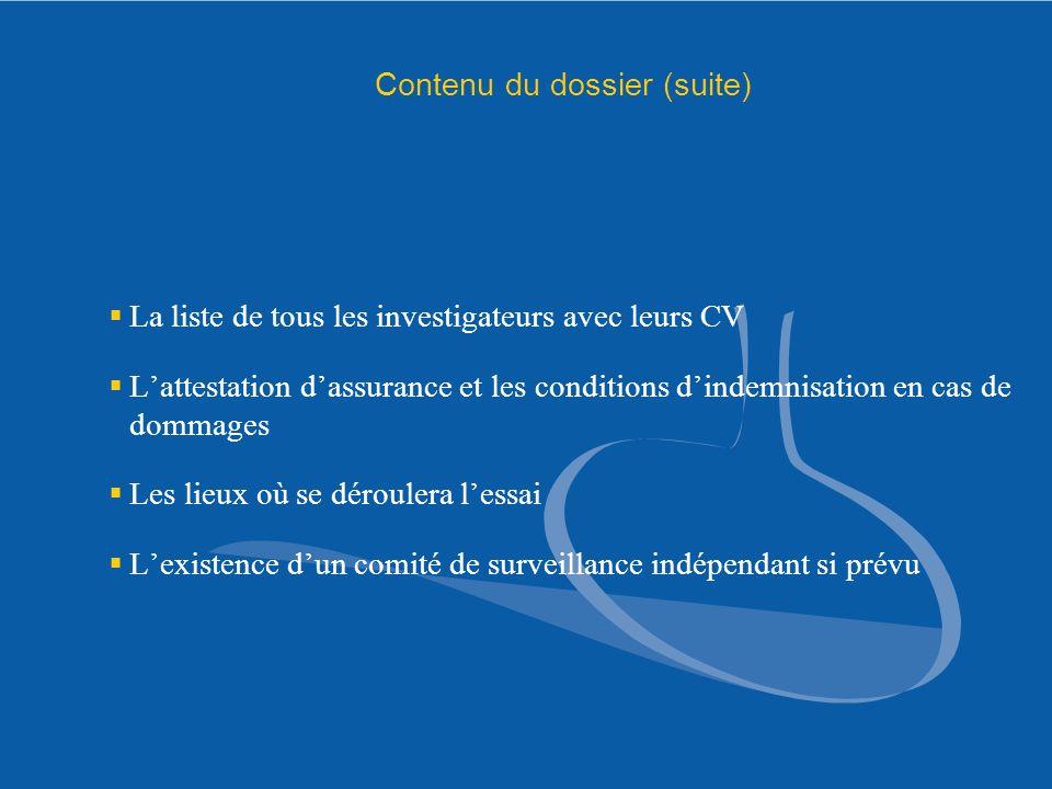 Contenu du dossier (suite)