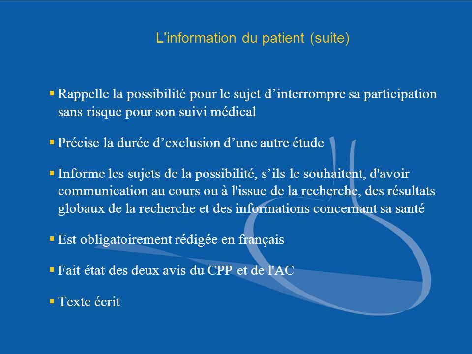 L information du patient (suite)