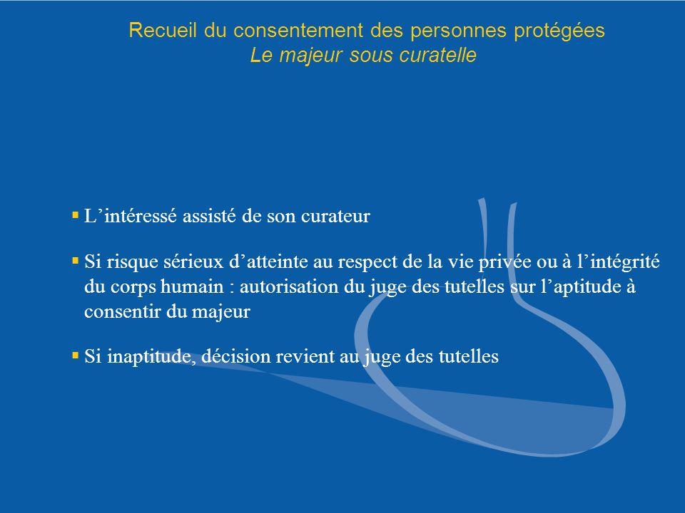 Recueil du consentement des personnes protégées Le majeur sous curatelle