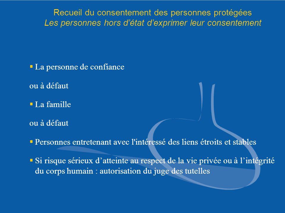 Recueil du consentement des personnes protégées Les personnes hors d'état d'exprimer leur consentement