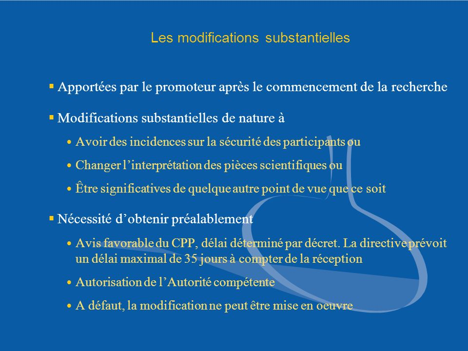 Les modifications substantielles